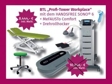 """BTL Therapiecenter """"Profi-Tower"""" + Gratis-Therapieliege """"MeFAUSTo"""" ME2 und Drehrollhocker  Aktion Q4/2020 bestehend aus: 2-Kanal-Reizstrom- / Ultraschallkombigerät BTL 4825S Premium 5 cm² US-Kopf Vakuumgerät BTL VacII im Gerätewag"""